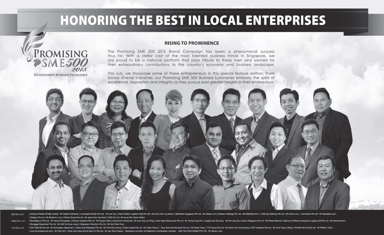 Promising SME 500 Award - Business Times 27 July 2015