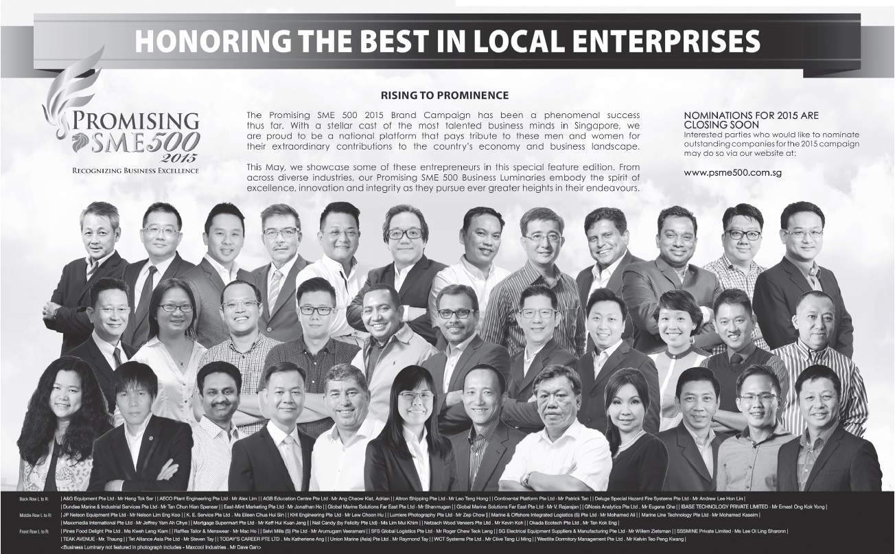 Promising SME 500 Award - Straits Times 26 May 2015